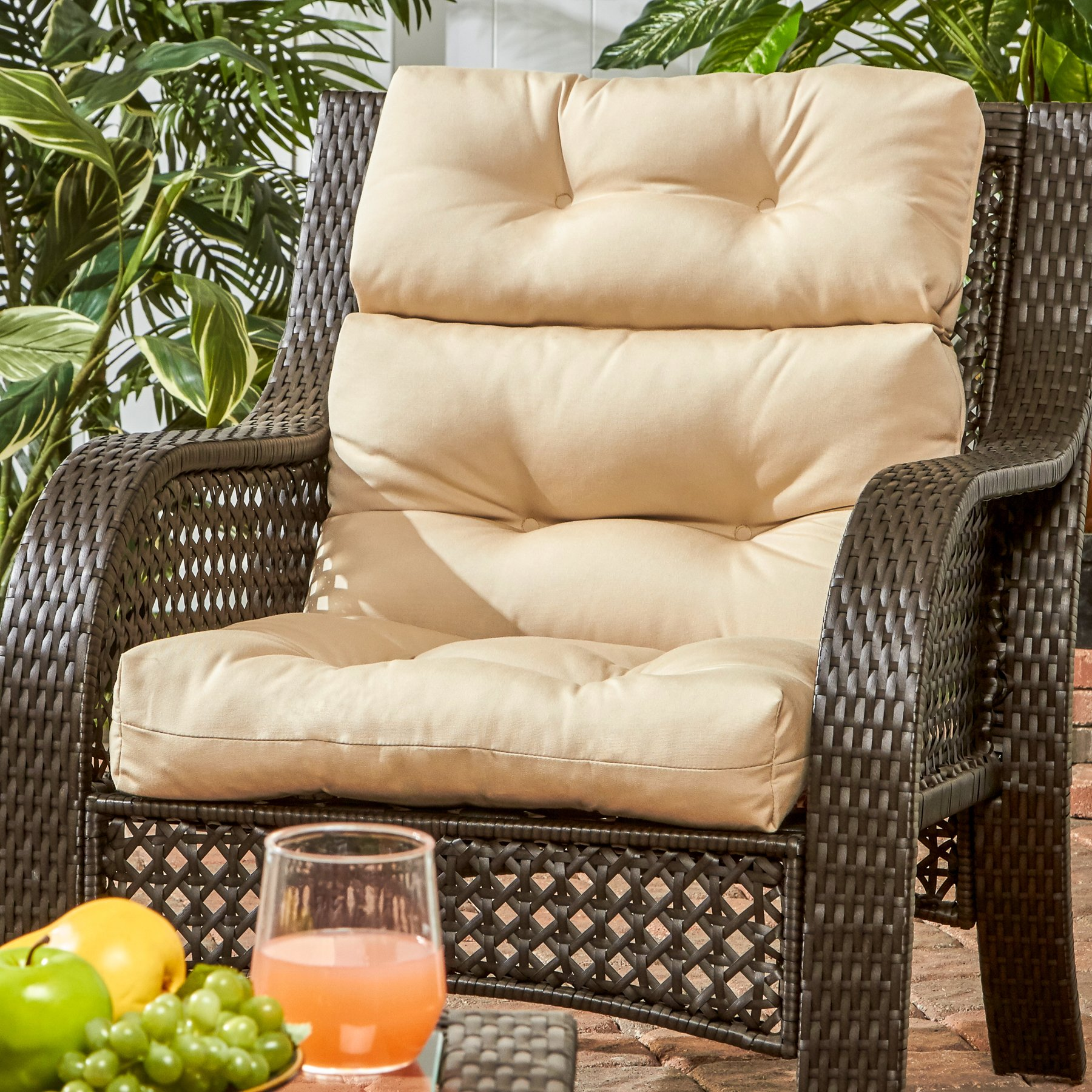 Greendale Home Fashions Outdoor High Back Chair Cushion, Stone by Greendale Home Fashions (Image #2)
