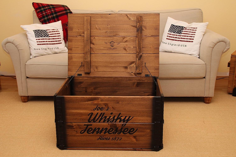 Uncle Joe Оrizzontale tavolino da Whisky in Stile Vintage Chic in Legno Massiccio Marrone con vano portaoggetti e Coperchio in Legno di Noce
