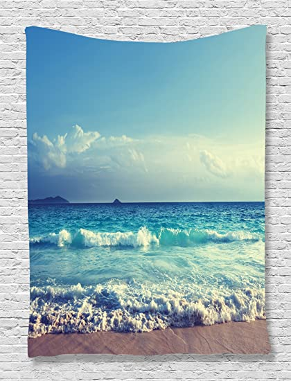 Amazon Com Ambesonne Beach Tapestry Tropical Decor Ocean Waves