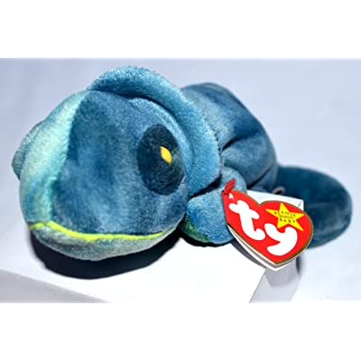 Ty Beanie Babies Rainbow (Blue Tie-Dye) Chameleon: Toys & Games
