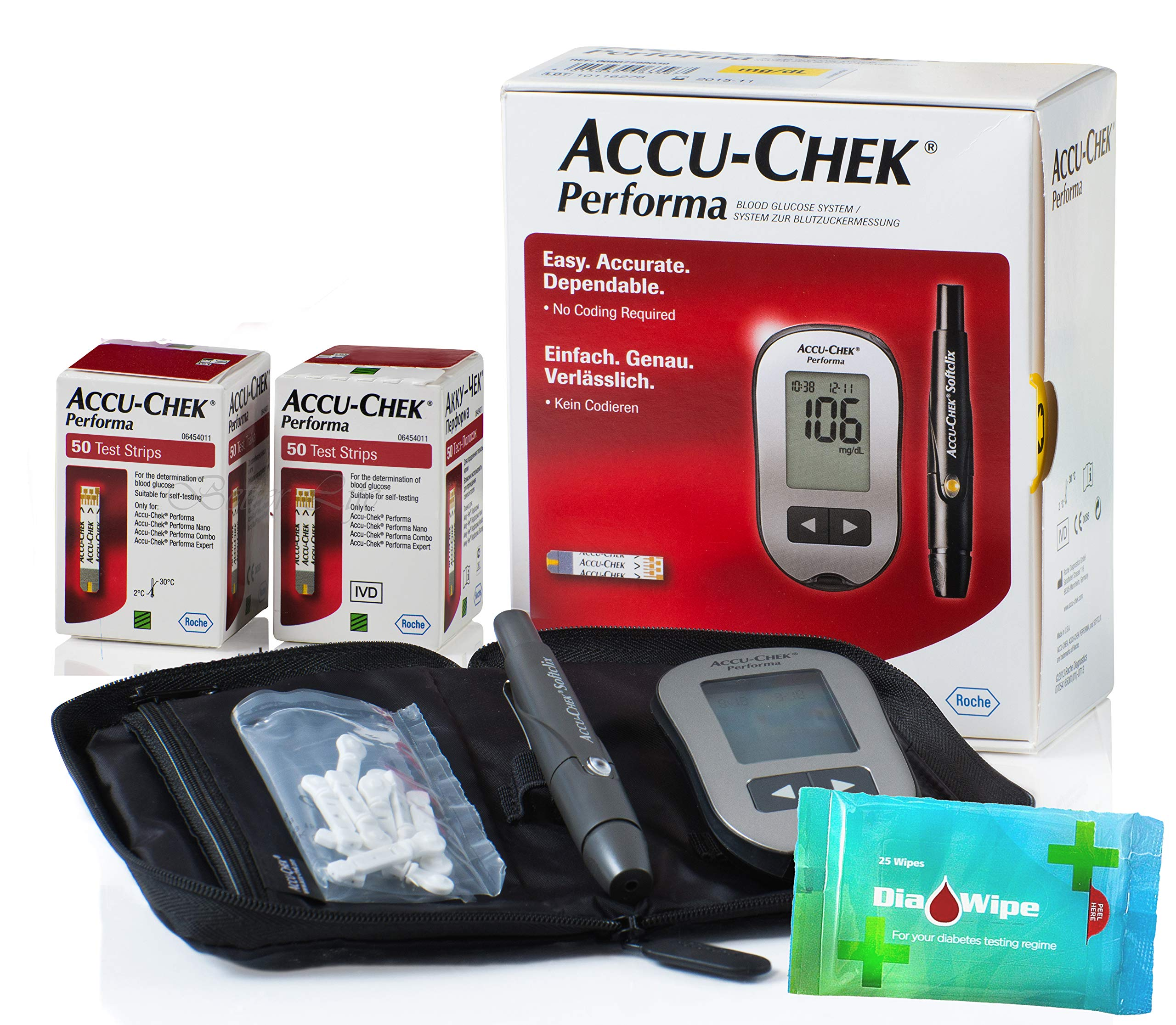 Accu Chek Performa 100 Test Strips (Very Long Expiration Dates) + Glucometer Tester Monitor Kit + Softclix + Lancets + Diabetes Diawipes Finger for Accurate Blood Level Results Accuchek Accu-Check