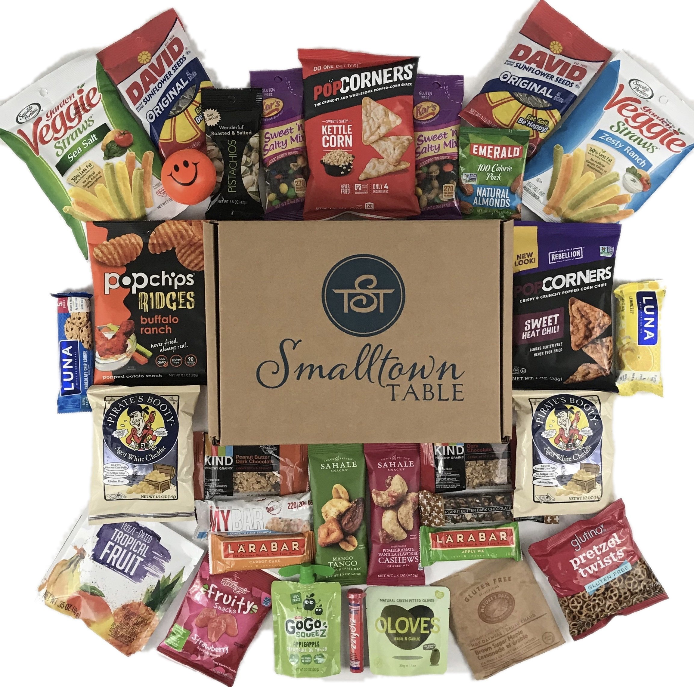 Gluten Free Snacks Care Package - GMO FREE Premium Snack Sampler Gift Box Healthy Bars, Chips, Nuts, Quality To Go Food for Office and Students (30 Count) by Smalltown Table