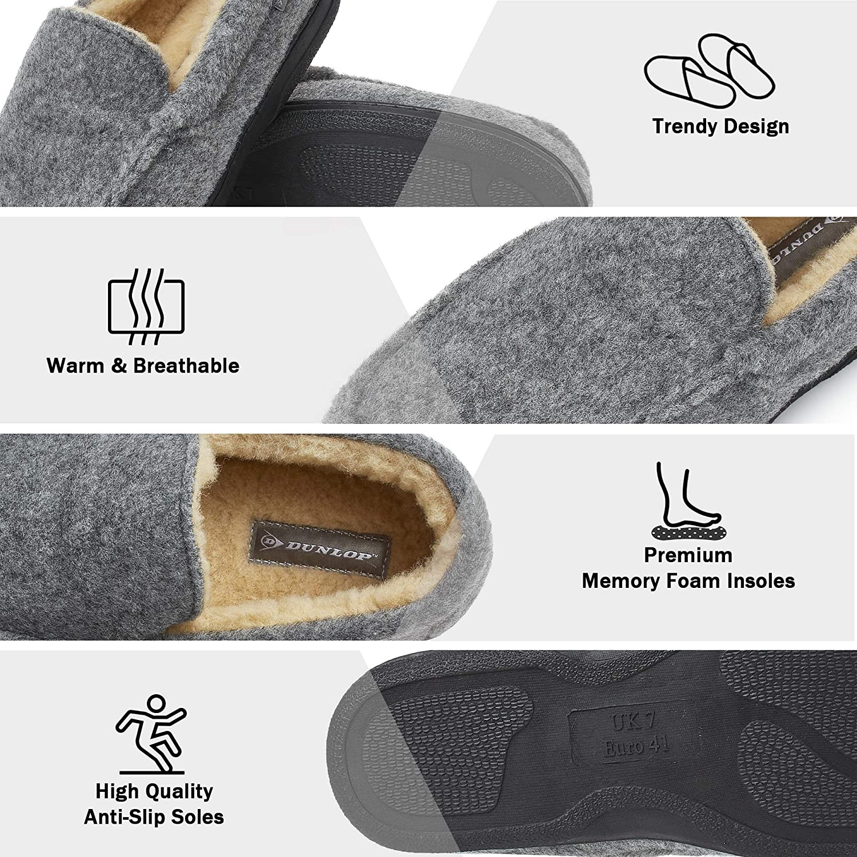 Zapatillas de Casa Invierno Calientes Suela de Goma Dura Regalos Originales para Hombre Pantuflas Estilo Mocasines Cerradas Dunlop Zapatillas Casa Hombre