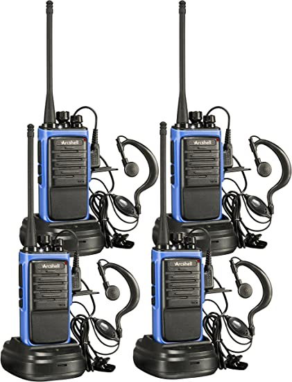 Arcshell Rechargeable Long Range Two-Way Radios Earpiece 4 Pack UHF 400-470Mhz