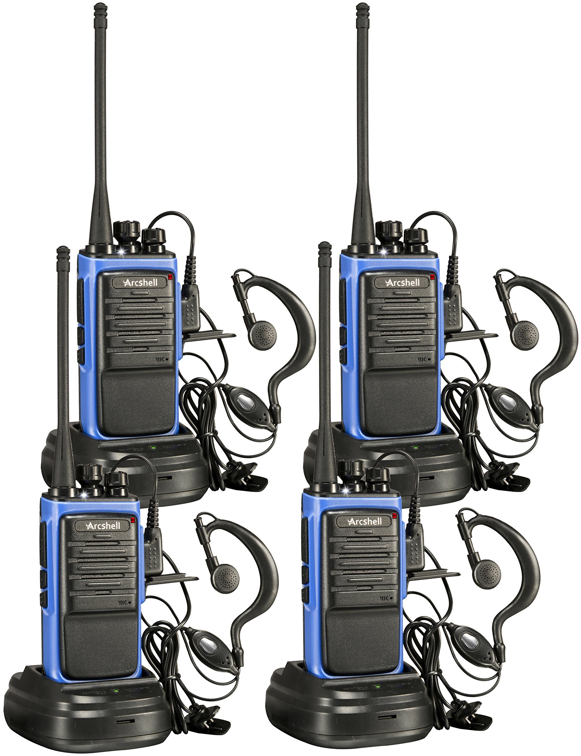 Arcshell Rechargeable Long Range Two-Way Radios with Earpiece 4 Pack UHF 400-470Mhz Walkie Talkies Li-ion Battery and Charger Included by Arcshell