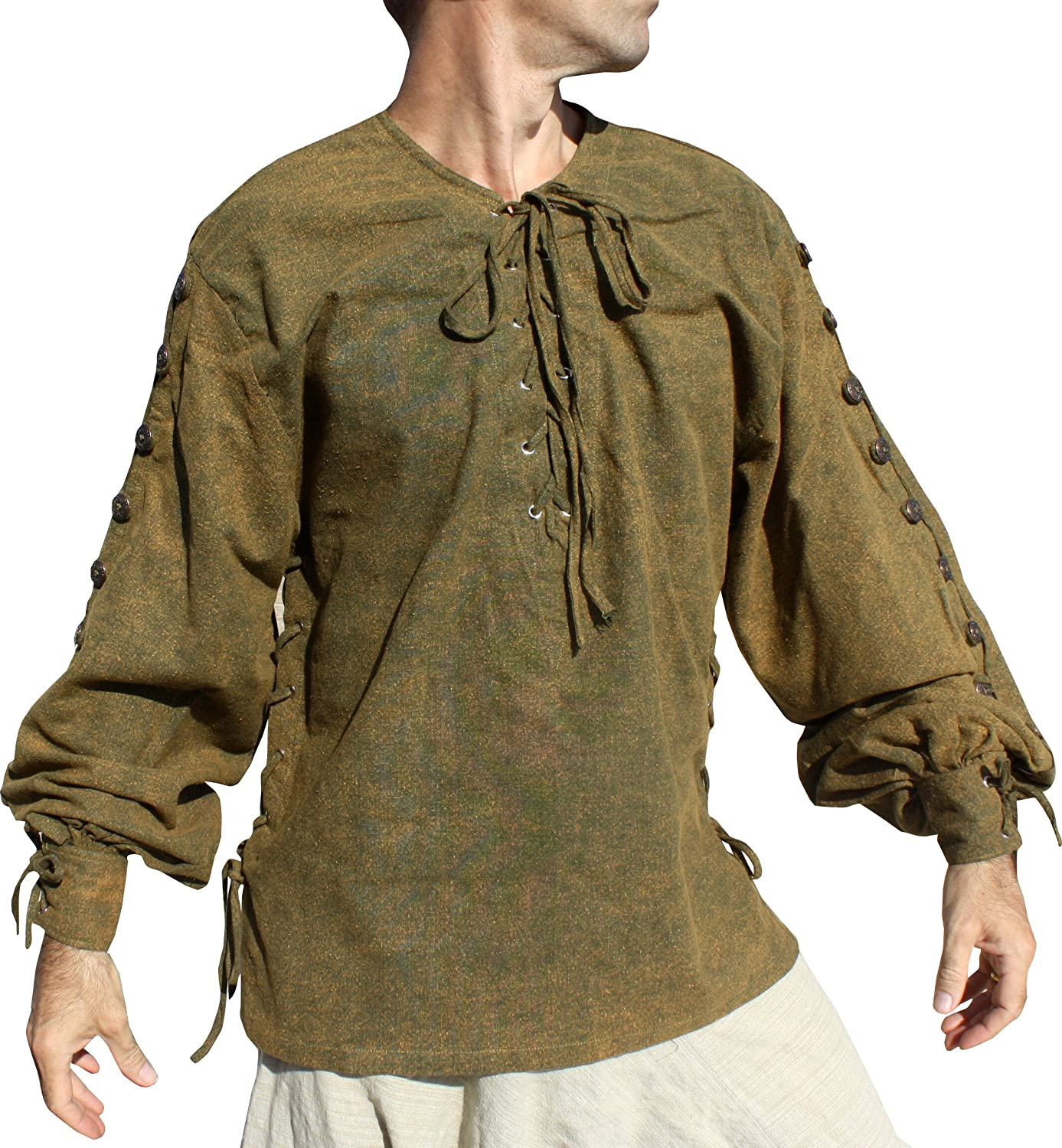 Quality Cotton Button Sleeve Medieval Pirate Shirt Stonewash Green Yellow
