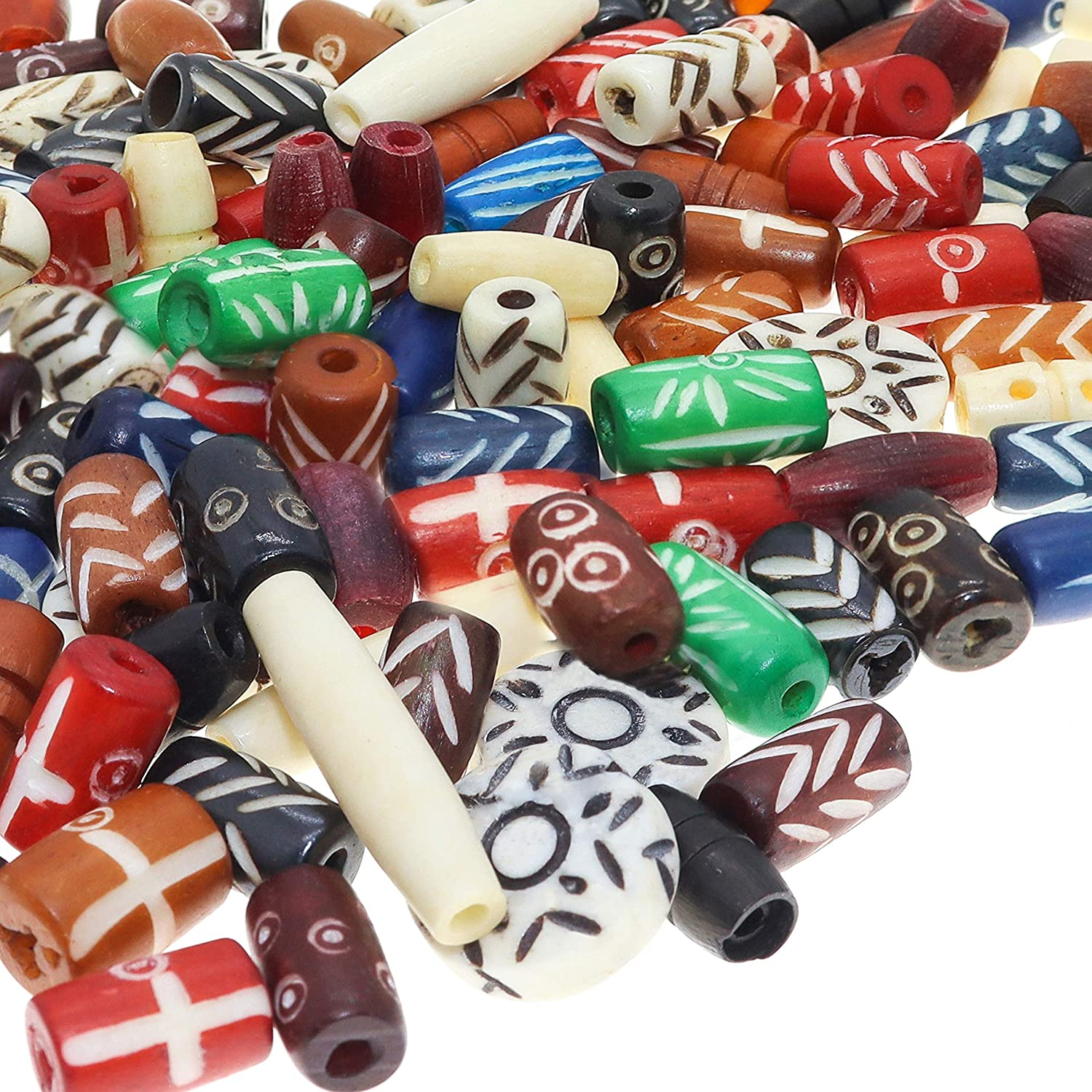 Amazon Com Fun Weevz 120 Pcs Bone Beads For Jewelry Making Adults Large Colorful Natural Ox Bone Beads Native American African Beads Bulk Assorted Craft Buffalo Bone Hairpipe Bead Supplies Arts Crafts