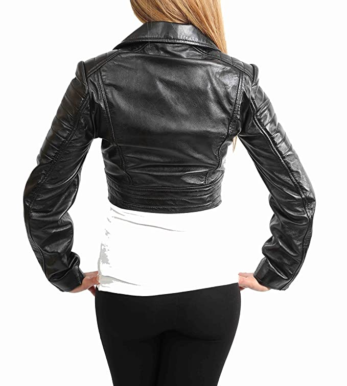 Ladies Cropped Short Length Leather Jacket Slim Fit Biker Style Demi Black at Amazon Womens Coats Shop