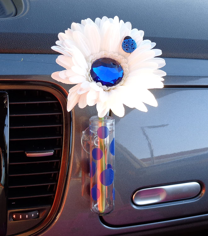 Amazon.com VW Beetle Flower - White and Blue Bling Daisy with Universal Vase Automotive & Amazon.com: VW Beetle Flower - White and Blue Bling Daisy with ...