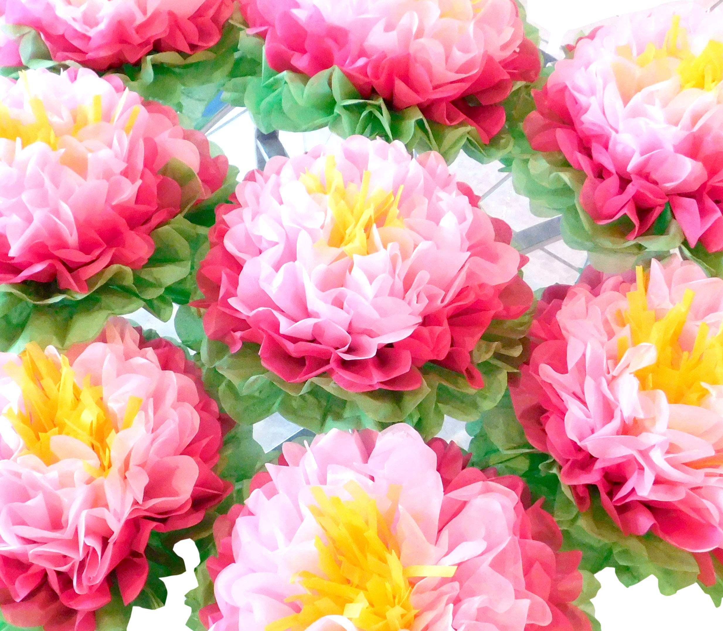 Amazon birthday party decorations paper flowers mix 4 colors 8 birthday party decorations paper flowers pink pack of 8 pieces giant 15 flower pom izmirmasajfo