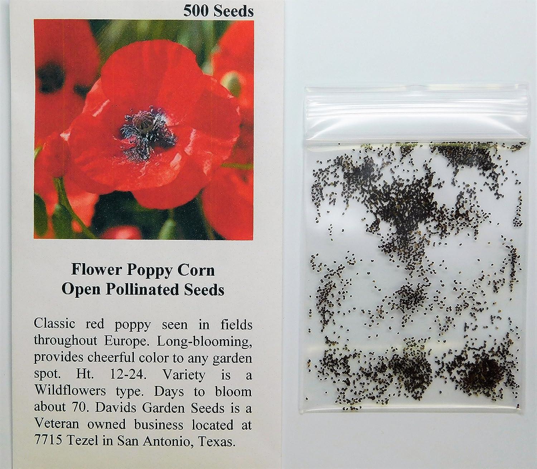 Amazon Davids Garden Seeds Flower Poppy Corn Os1611 Red 500