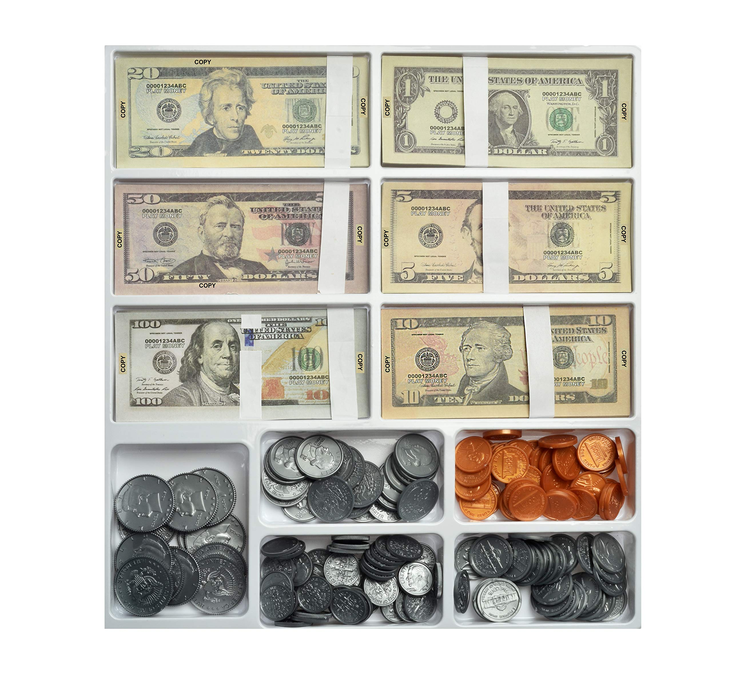 Teacher's Choice Pretend Play Money Set for Kids - 150 School Money Bills and 140 Plastic U.S. School Money Coins in Large Tray with Clear Cover by Teacher's Choice