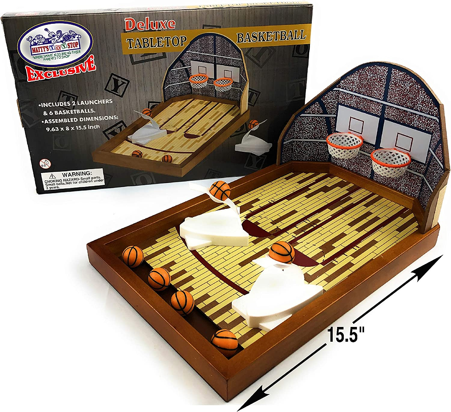 Matty's Toy Stop Deluxe Wooden Mini Tabletop Basketball Game for 2 Players (Includes 2 Launchers & 6 Basketballs)