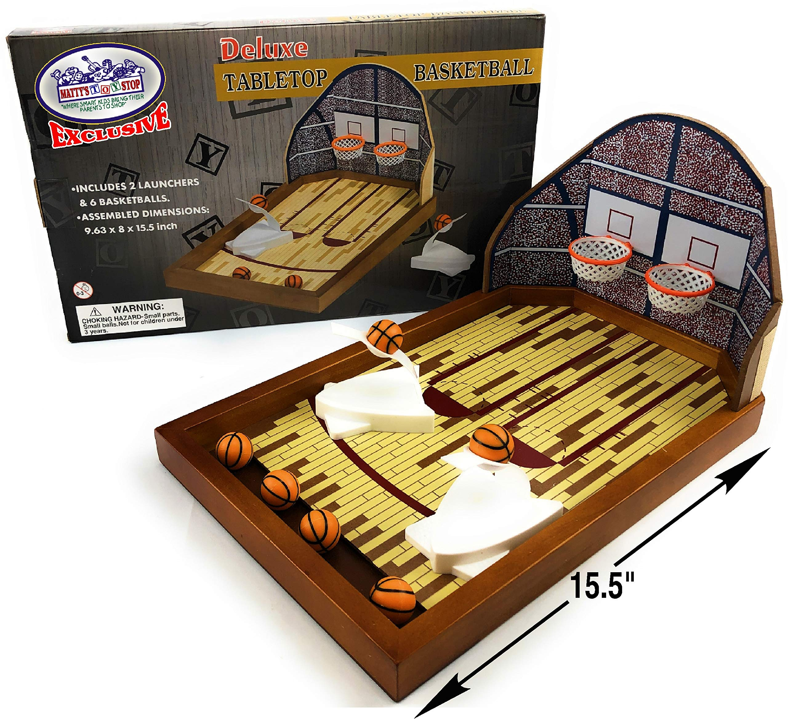 Matty's Toy Stop Deluxe Wooden Mini Tabletop Basketball Game for 2 Players (Includes 2 Launchers & 6 Basketballs) by Mɑtty's Toy Stop
