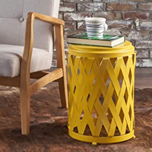 Christopher Knight Home 302268 Perciad Indoor 12 Inch Diameter Lattice Matte Yellow Iron Side Table