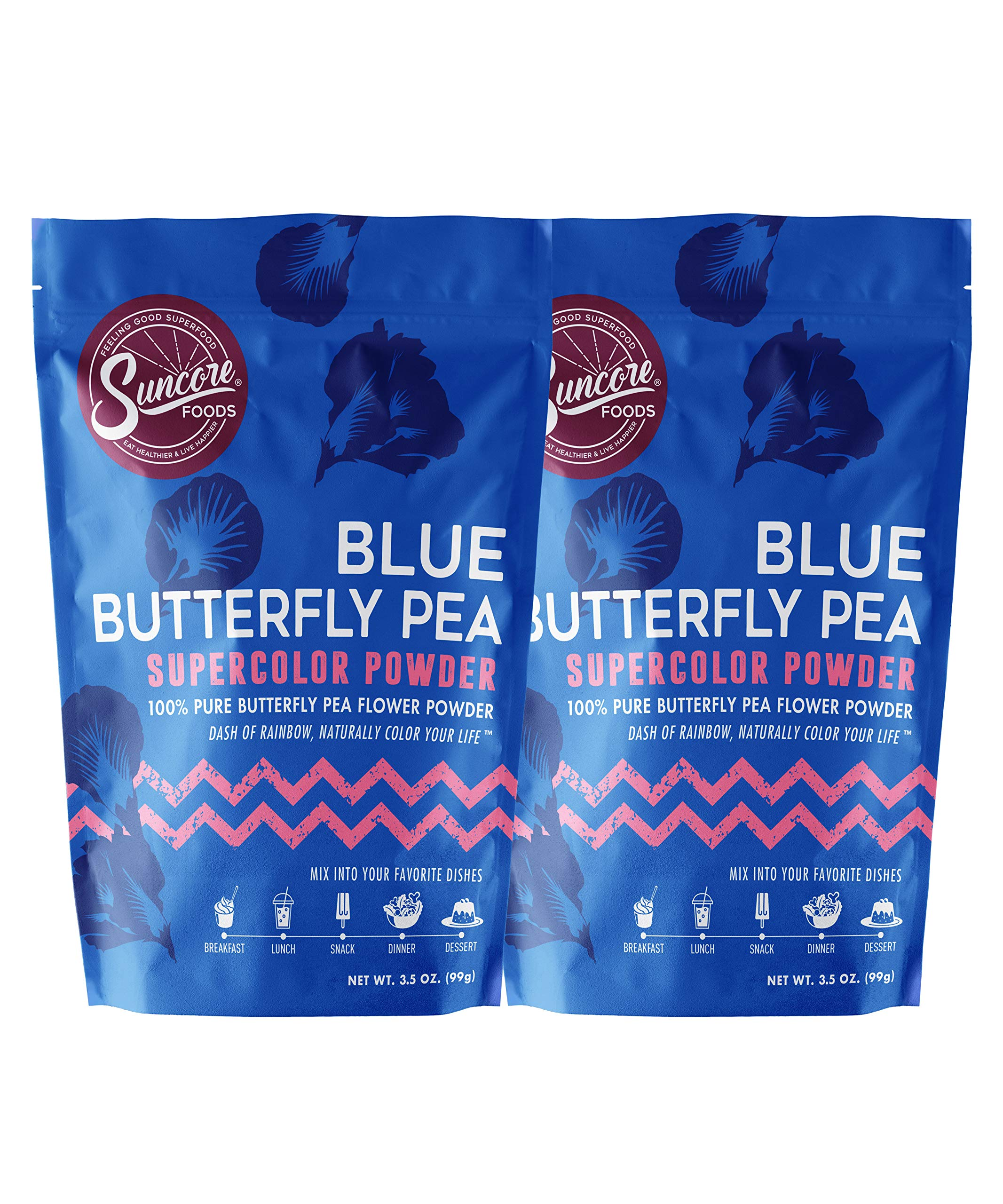 Suncore Foods - 100% Pure Butterfly Pea Flower Natural Supercolor Powder, 3.5oz each, 7oz Total (2 Pack)