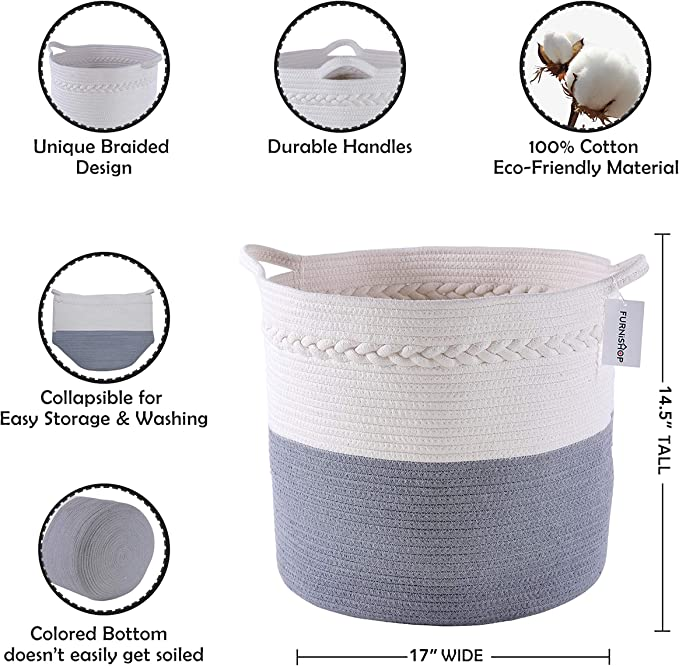 Decorative Cotton Rope Basket Baby Nursery Woven Laundry Basket FURNISHOP Blanket Basket for Living Room Toy Includes 4pcs Laundry Bags 14.5 x 17 Large Storage Baskets for Blankets Pillow
