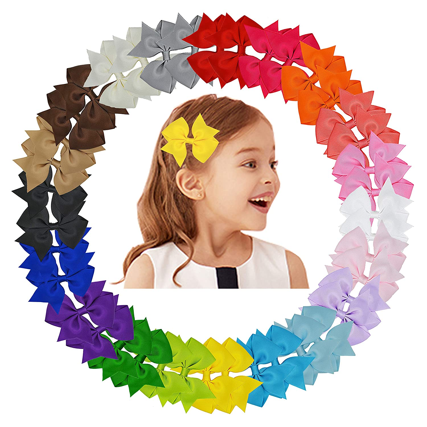 Bright 40 Pieces 3 Inch Hair Bows Alligator Hair Clips For Baby Girls Toddlers In Pairs Girls' Accessories Clothing, Shoes & Accessories