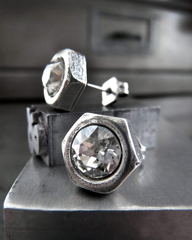 cfdcd52155721 Amazon.com: Unisex Mens Hex Nut Stud Earrings with Swarovski Crystal ...