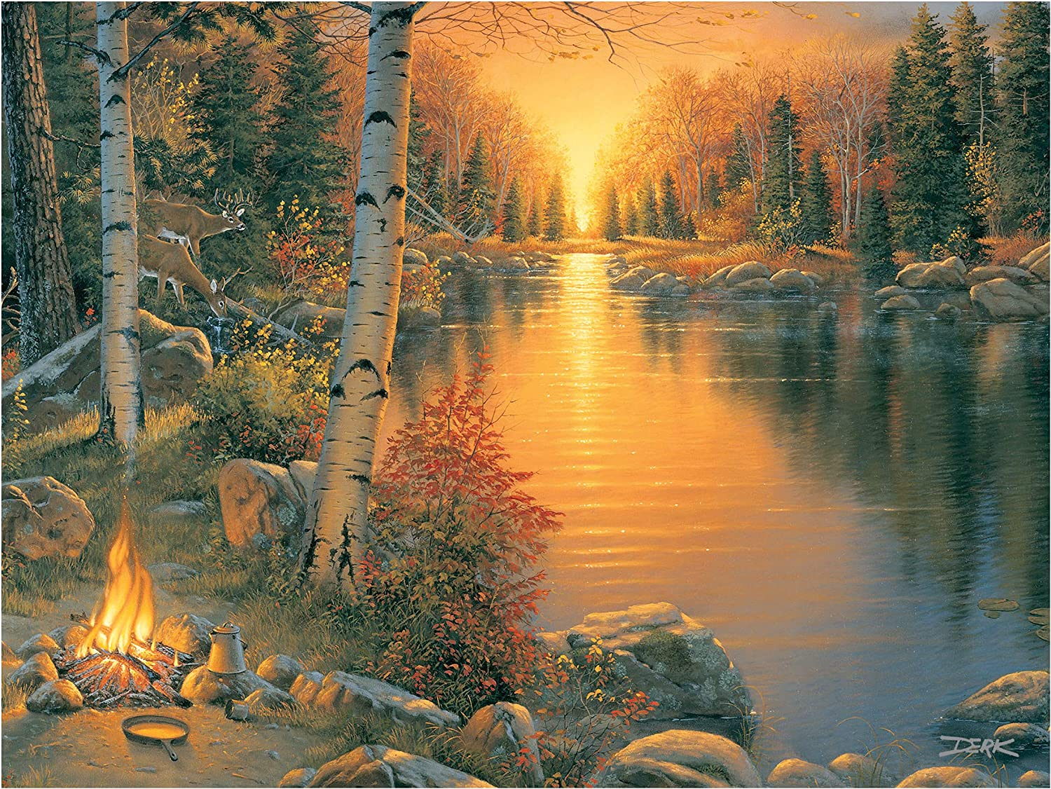 River's Edge Products LED Art 16in x 12in - Campfire at Sunset