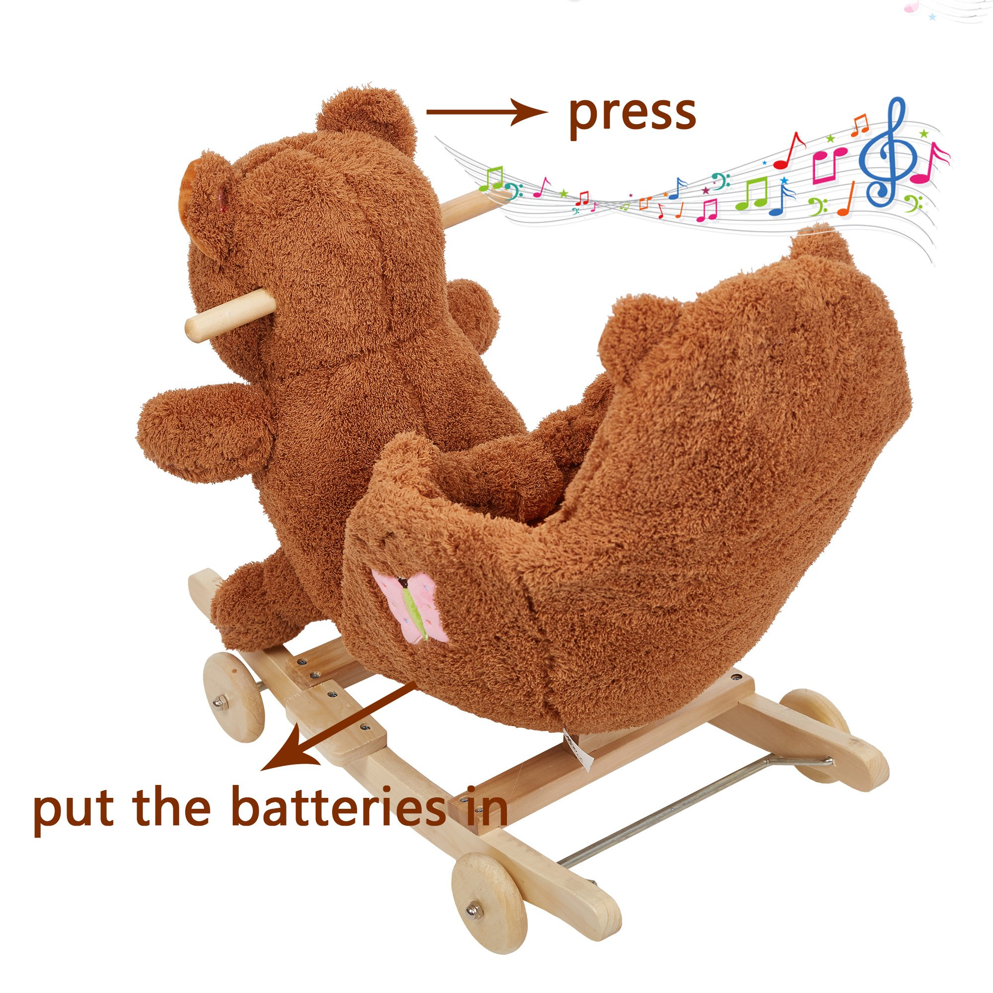 Lucky Tree Rocking Horse Wooden Riding Toys Plush Brown Bear Ride on Toy with Wheels for kids 18 Months-4 Years,Bear by Lucky Tree (Image #5)