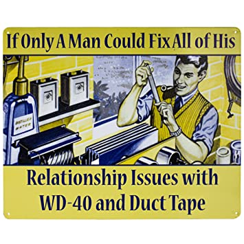 """Amazon.com: """"WD-40 and Duct Tape"""" Metal Sign Wall Art Decor: Home ..."""