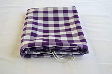 TableSnugg   Fitted, Adjustable, Drawstring, Purple, Gingham, Polyester  Tablecloth For Picnic