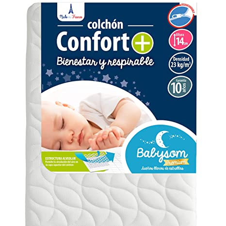 Babysom - Colchón Cuna Bebé Confort+ - 60 x 120 cm - Altura 14 cm -