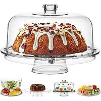 Homeries - Soporte para tartas (6 en 1) con tapa para cúpula (6 en 1) multifuncional para servir y plato para tarta…