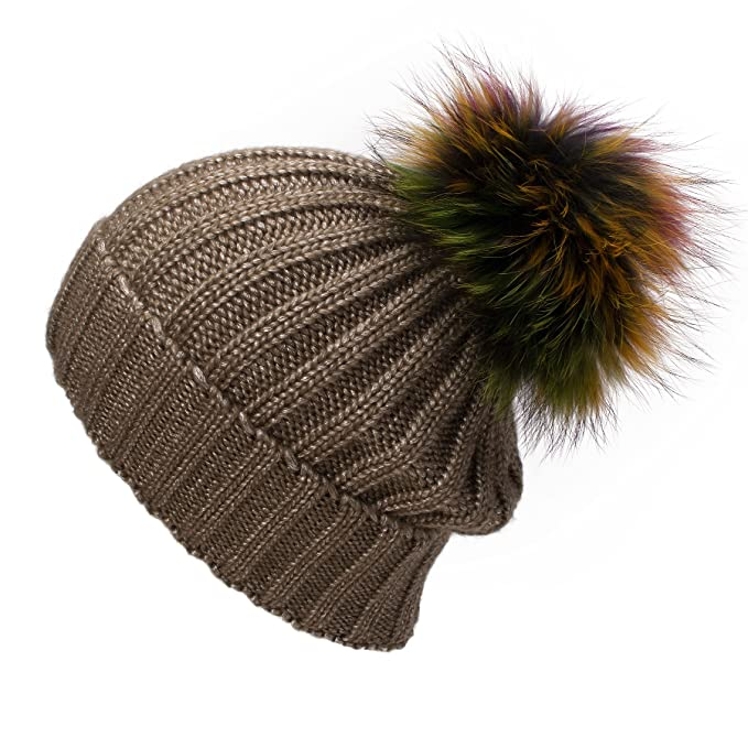 Lawliet Sparkle Threading Wool Crochet Knitted Hat Pom Pom Winter Beanie Cap  T263 (Brown With 1bd95364fe26