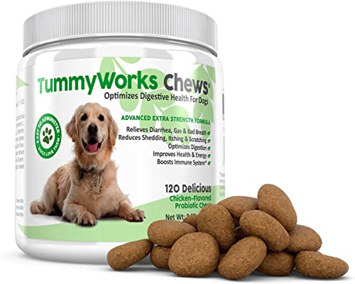TummyWorks Probiotic Chews for Dogs. Relieves Diarrhea, Upset Stomach, Gas, Constipation Bad Breath. Itching, Allergies Yeast Infections. with Digestive Enzymes Prebiotics. Made in USA