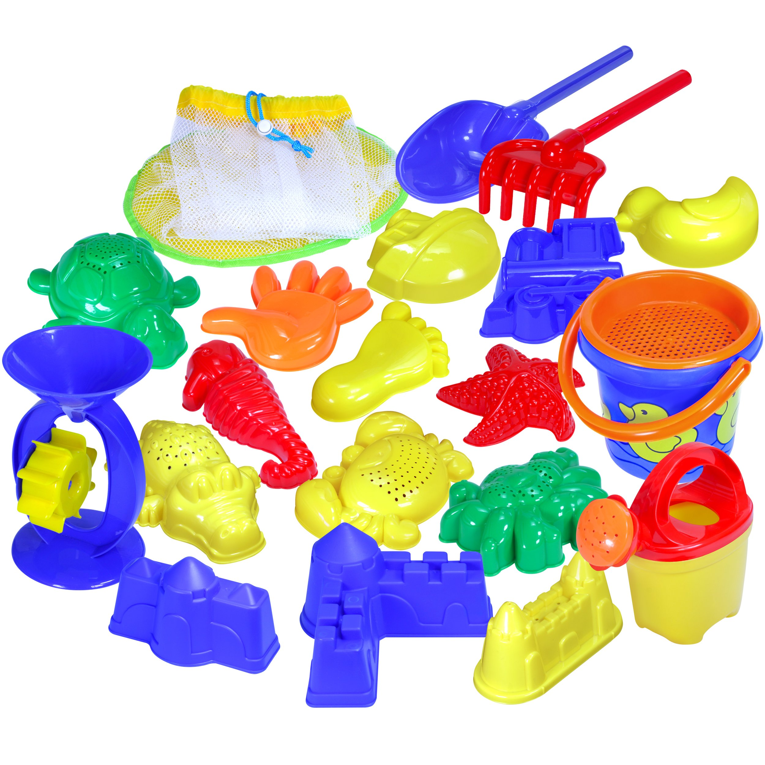 Beach Toys | Sand Toys Set for Kids | 20 Piece Beach Sand Toys in a Mesh Bag