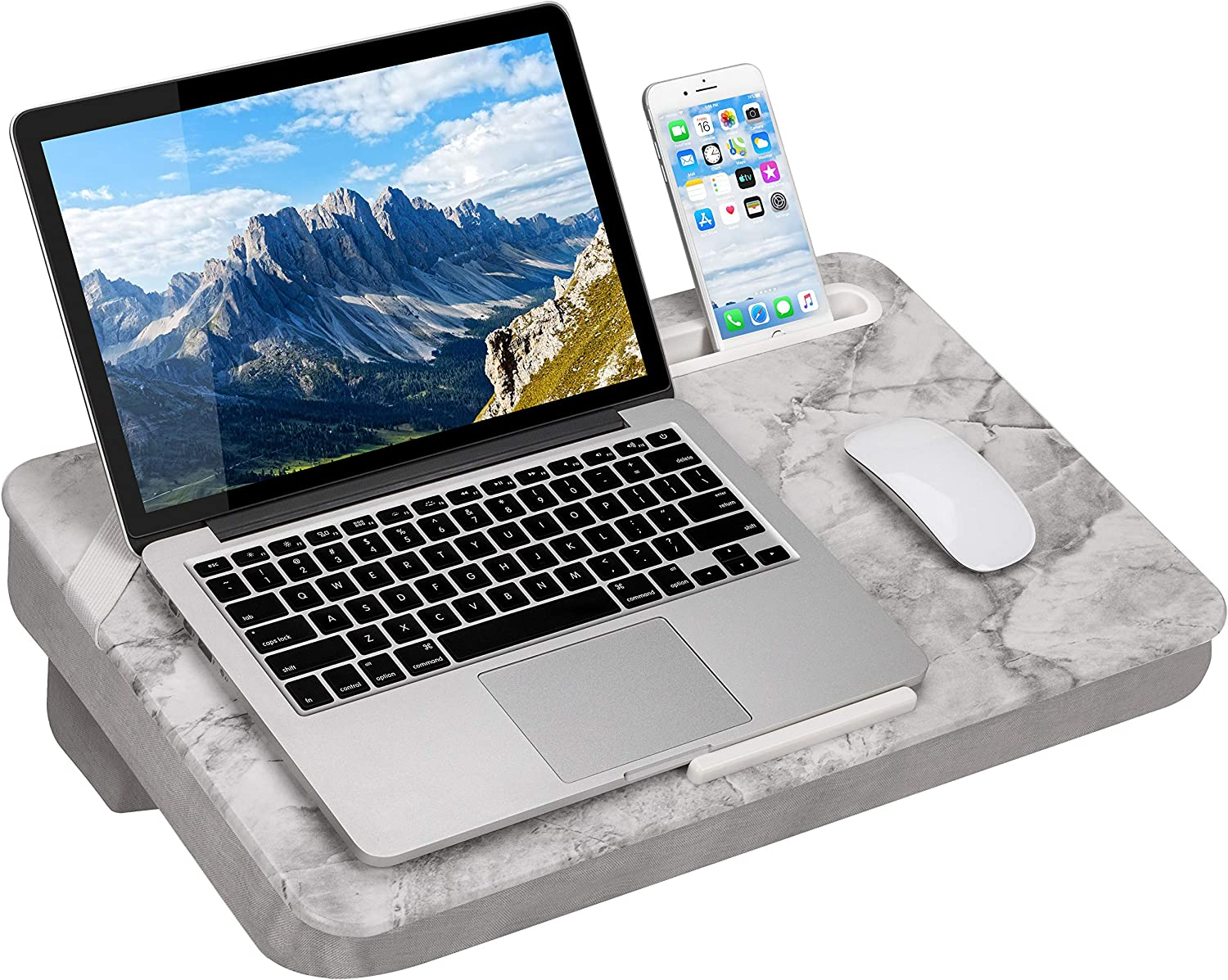 LapGear Elevation Lap Desk with Booster Cushion -White Marble - Fits up to 17.3 Inch Laptops - Style No. 87966
