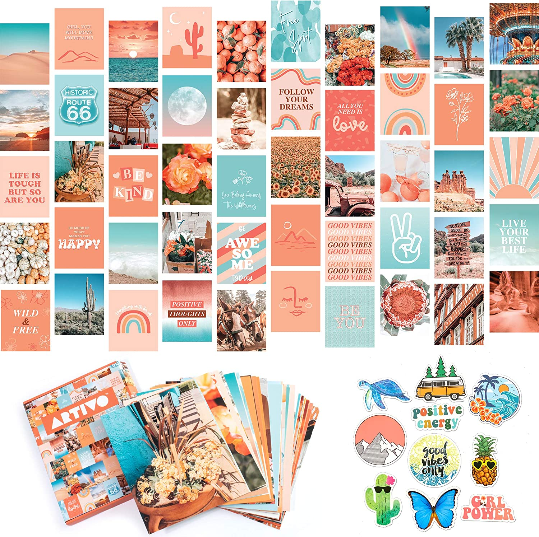 Artivo Peach Teal Aesthetic Wall Collage Kit, 50 Set 8x10 inch, VSCO Girls Bedroom Decor, Orange Boho Dorm Wall Decor, Photo Collection…