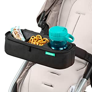 Universal Stroller Tray, Exclusive Straps Firmly Grip Stroller Bar. Universal Stroller Snack Tray Attachment with Insulated Sippy Cup Holder - Non Slip Grip Stays in Place. by Swanoo