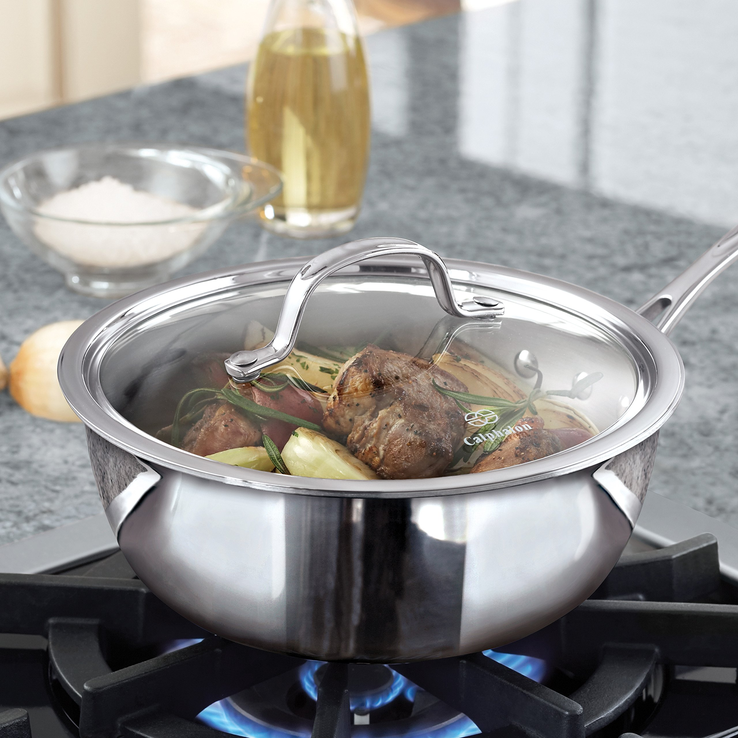 Calphalon Tri-Ply Stainless Steel Cookware, Chef's Pan, 3-quart by Calphalon (Image #5)
