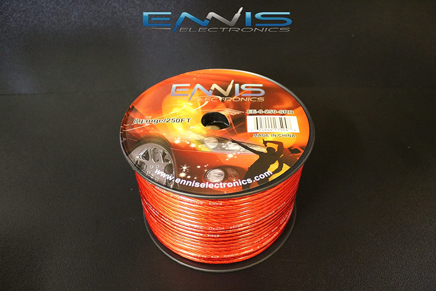 8 GAUGE WIRE 250 FT RED AWG CABLE ENNIS ELECTRONICS POWER GROUND STRANDED CAR