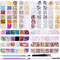 Duufin 12890 Pcs Nail Art Rhinestones Nail Art Crystal Jewels Nail Gems Nail Studs with 1 Pick up Tweezers and 2 Wax…