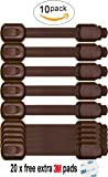 Baby Safety Adjustable Locks - Cabinet Locks - Door, Fridge, Oven, Toilet Seat and Drawer Latches, Free 20 Extra 3m Adhesive Pads, No Tools or Drilling Required, 10 PACK by USA Platinum (Brown)