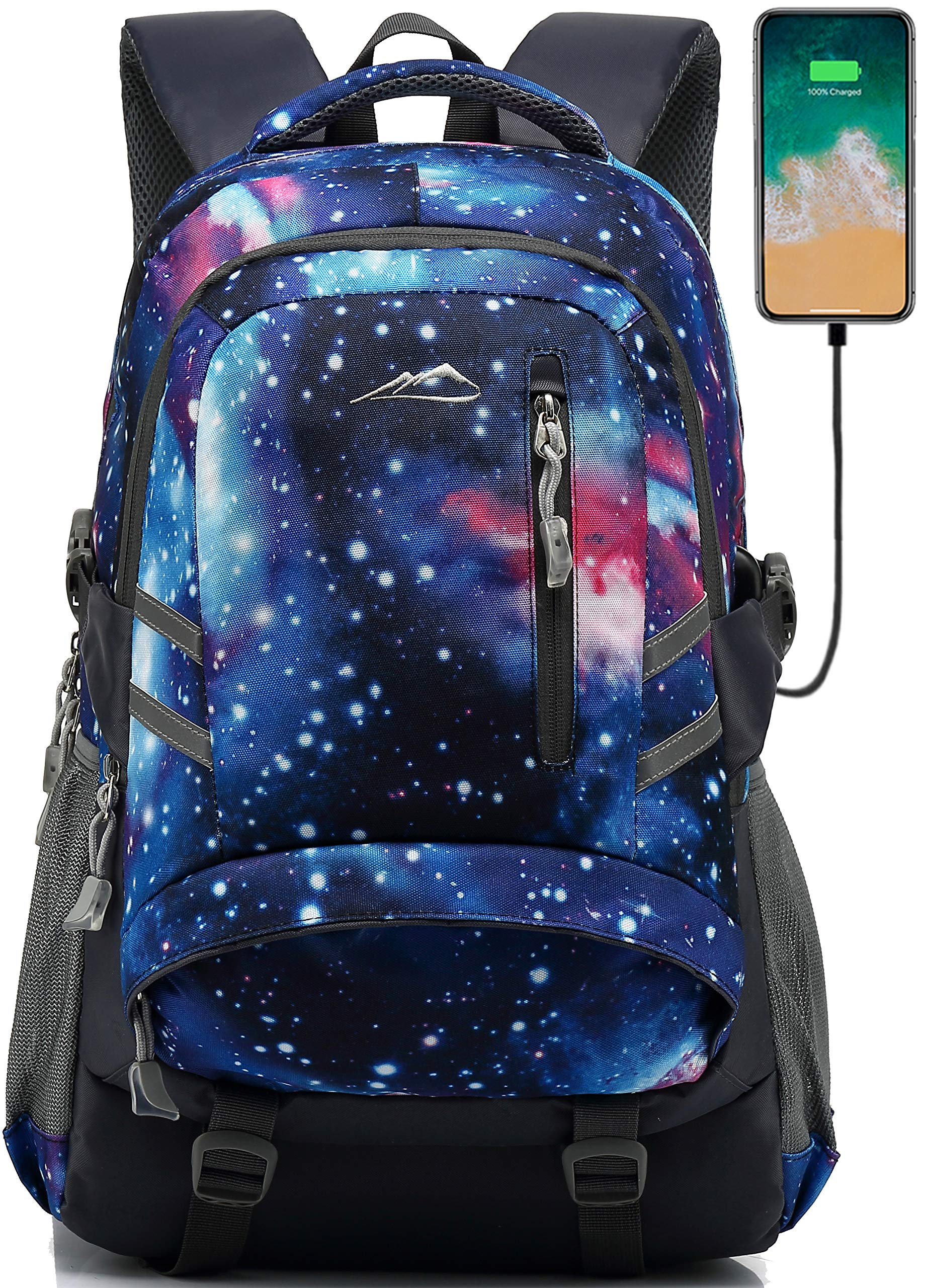 Backpack Bookbag for School Student College Business Travel with USB Charging Port Fit Laptop Up to 15.6 Inch Night Light Reflective Anti Theft (Galaxy A) by ANTSANG