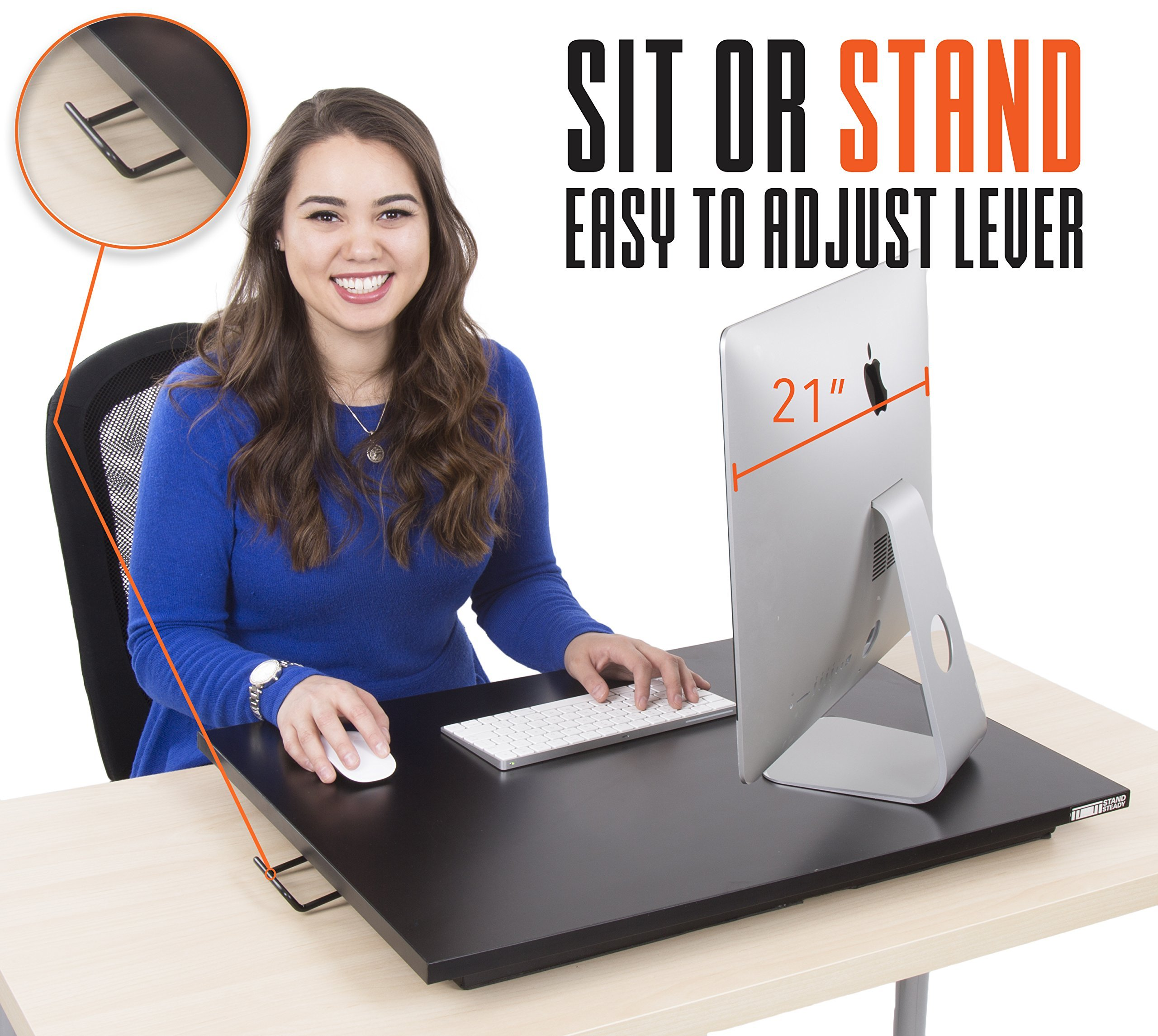 Standing Desk - X-Elite Pro Height Adjustable Desk Converter - Size 28in x 20in Instantly Convert any Desk to a Sit / Stand up Desk (Black) by Stand Steady (Image #2)