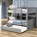 Full Over Full Bunk Bed for Kids Teens, Detachable Wood Full Bunk Bed Frame with Trundle (Grey)