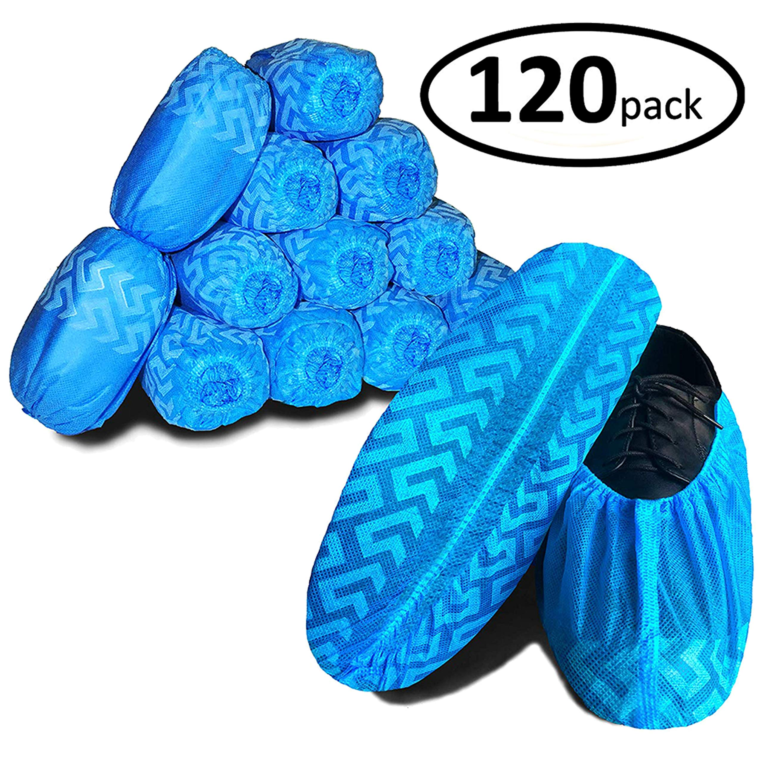 Sterile Field Non Slip Disposable Shoe Covers - Secure Elastic Fit, Large Size Fits All, Extra Durable Thickness, 120 Count