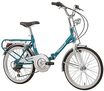 """20"""" Cinzia Firenze bicicleta plegable 6marchas, azul/blanco"""