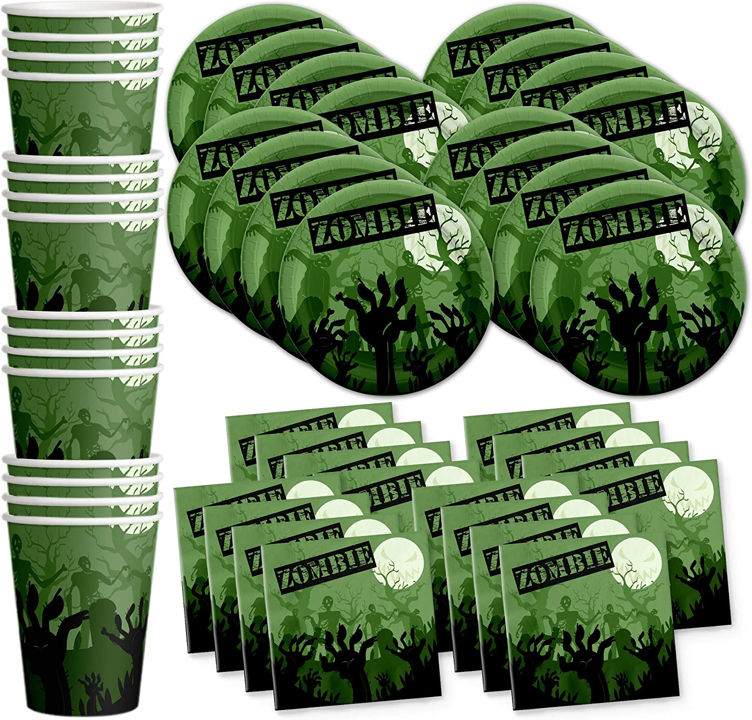 Zombie Birthday Party Supplies Set Plates Napkins Cups Tableware Kit for 16