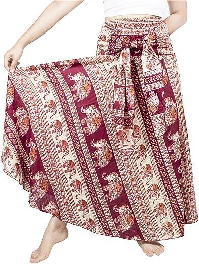 LOFBAZ Long Maxi Skirts for Women Gypsy Hippie Clothes Bohemian Boho Dress Plus
