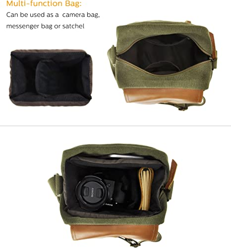 Waterproof and Shockproof MSQL Vintage DSLR Camera Bag for 14-Inch Laptops Books and Magazines Canvas Leather Camera Messenger Bag
