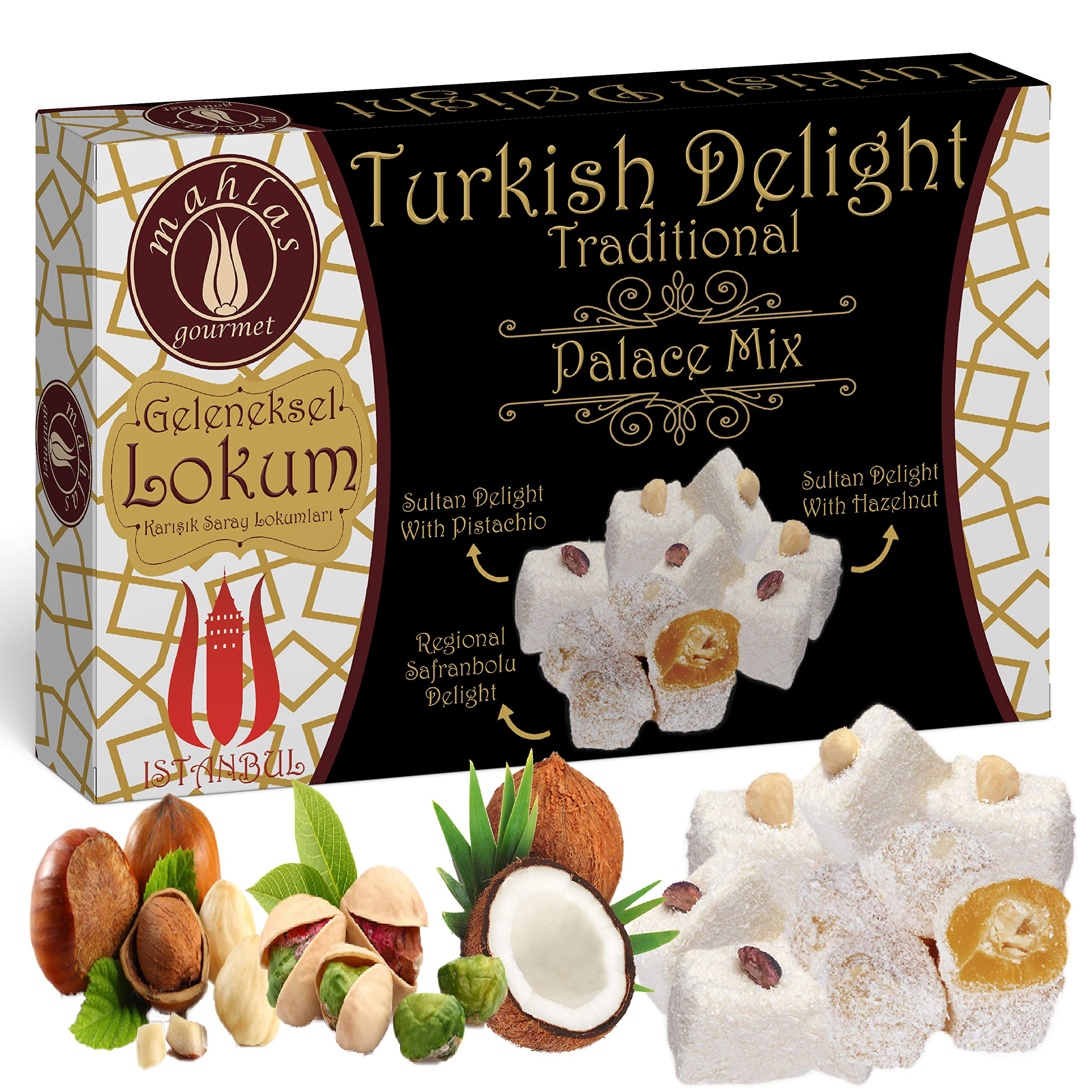 Mahlas Gourmet Turkish Delight - Traditional Sweet Halva From The 17th Century - Vegan Dessert With Pistachio And Hazelnut