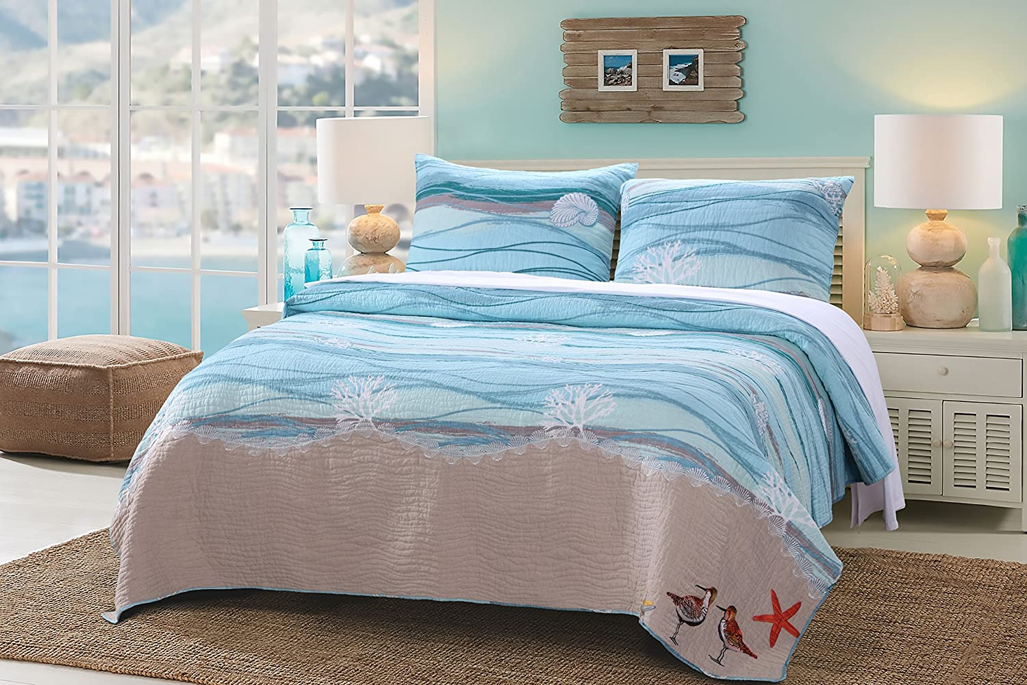 Greenland Home 3 Piece Maui Quilt Set, Full/Queen