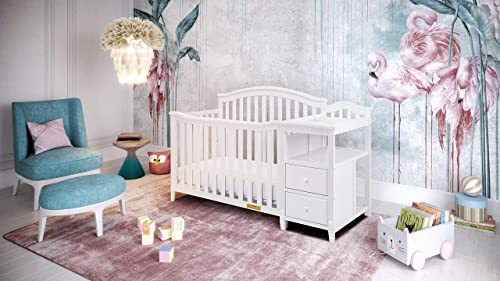 AFG Kali 4-in-1 Crib with Changer, White